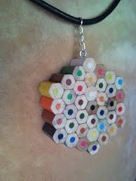 coloured flower necklace images Coloured dotted flower crayon pencil necklace pendant jpg