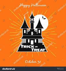 halloween trick treat night castle party stock vector 497009470