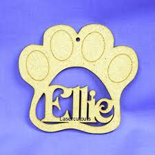 pawprint wooden shape name mdf 100mm personalised christmas
