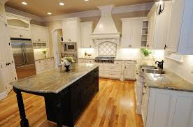 Kitchen Granite Island Curved Brown Granite Island Top Simple Wood Bar Stools Cream