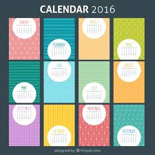 colorful 2016 calendar template vector free download