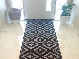 interior chic rug runners for hallways with white front door and