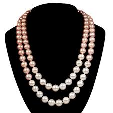 pink pearls necklace images Double strand pink freshwater pearls with white south sea pearls jpg