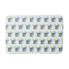 watercolor blue flowers bath mat bathroom accessories home