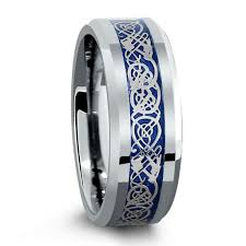 celtic mens wedding bands 8mm tungsten wedding band with blue celtic inlay design
