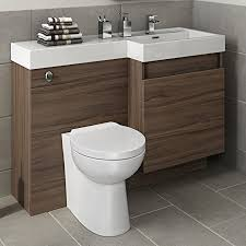 all in one toilet and sink unit 1200mm walnut vanity unit toilet sink bathroom right hand storage