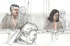 courtroom sketch of hui zhang and te lu during their trial for