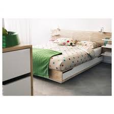 queen bed frame wood platform with storage mandal 160x202 cm ikea