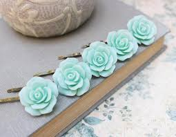 hair slides aqua bobby pins set of five hair slides mint wedding bridal