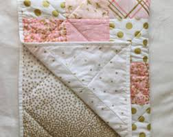 baby blanket modern baby quilt pink gold white