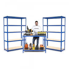 Heavy Duty Garage Shelving by 2x Heavy Duty Garage Shelving Units 1800x1200x450 1x Workbench