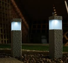 solar powered outdoor l post lights granite modern l post fixtures square stone solar post ls