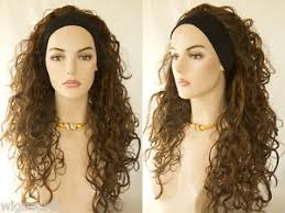 headband wigs premium quality natural long brunette wavy curly 3 4 wig black