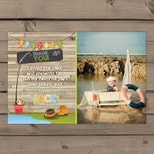 fishing birthday thank you cards with photo fishing thank you
