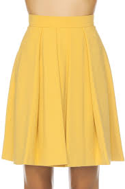 french connection feather light flared skirt yellow 365ist
