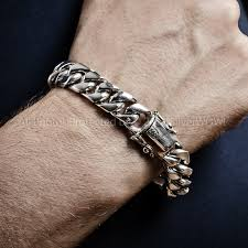 man silver link bracelet images Vibrant mens cuban link bracelet silver 15mm gold huge bracelets jpg