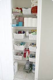 Bathroom Closet Storage by 74 Organized Linen Closet Container Store Closet Doors And