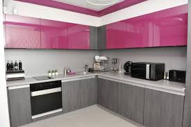 modern pink kitchen design with silver grey cabinet style norma