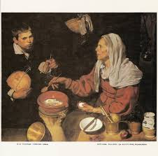 old woman cooking eggs by diego velasquez spanish painting color