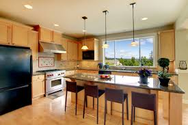 stunning kitchen remodeling design with black refrigerator and