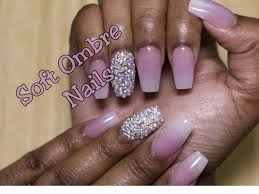 pink and white ombre nails with bling