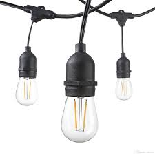 dimmable outdoor led string light 48 foot weatherproof outdoor string lights s14 led filament bulbs