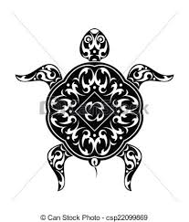 clip art vector of tattoo turtle design vector art csp22099869