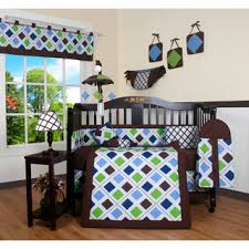 Crib Bedding Boys Overstock Blue Brown 13 Crib Bedding Set