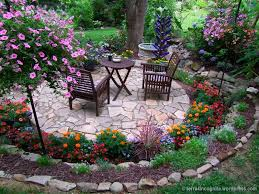 the long border circular patio patios and flower