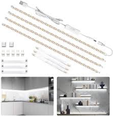 counter kitchen cabinet lights led cabinet lighting kit 6 5ft usb 1200lm led light bars counter lighting for kitchen showcase closet 120 leds 6000k white 4
