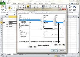 setting fonts in excel 2010