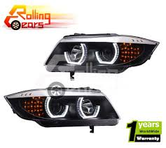 bmw headlights 2009 2010 11 12 bmw e90 3 series sedan black angel eye halo