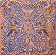 Decorative Ceiling Tile R39 ANTIQUE COPPER BLUE