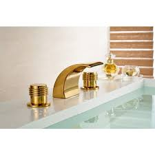 Dual Faucet Sink Lima Round Dual Handle Gold Chrome Deck Mount Waterfall Bathroom