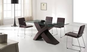 Wooden Dining Table Designs With Glass Top Glass Top Dining Tables With Wood Base Modern 5 Piece Rectangular
