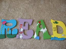 Letter Decorations For Nursery by Dr Seuss Wooden Letters Children U0027s Decor For Play Room Or