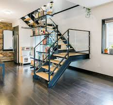 decorating staircase wall with garden metal railing staircase