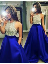 dress blue buy a line halter backless royal blue prom dress with beading
