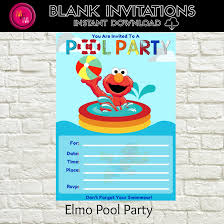 sesame street pool party elmo pool party invitation blank instant download template