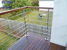 outside stainless steel rod wooden handrail cheap deck railing
