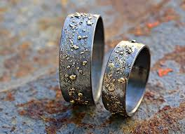 unique matching wedding bands his and hers unique wedding bands gold silver molten wedding ring