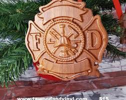 wooden maltese cross firefighter sign etsy