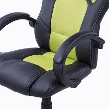 Desk Chair Gaming by Homcom Racing Pu Leather Office Chair Black Green Aosom Co Uk