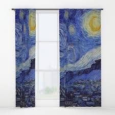 Window Curtains Vincent Gogh Starry Window Curtains By Artgallery Society6