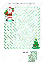 deliver presents maze or activity page for kids help santa to deliver the