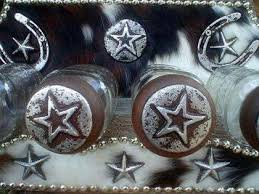 western decor glass kitchen canisters with cowhide covered wood