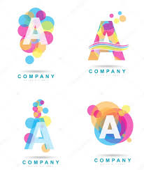letter a colored logo set u2014 stock vector dragomirescu 68941925