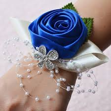 royal blue corsage wedding wrist corsages bridesmaids flowers blue