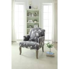 linon home decor gray floral polyester arm chair 368312gry01u