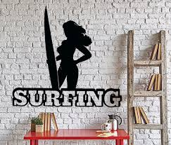 wall vinyl decal surfing woman quote words surf ocean home